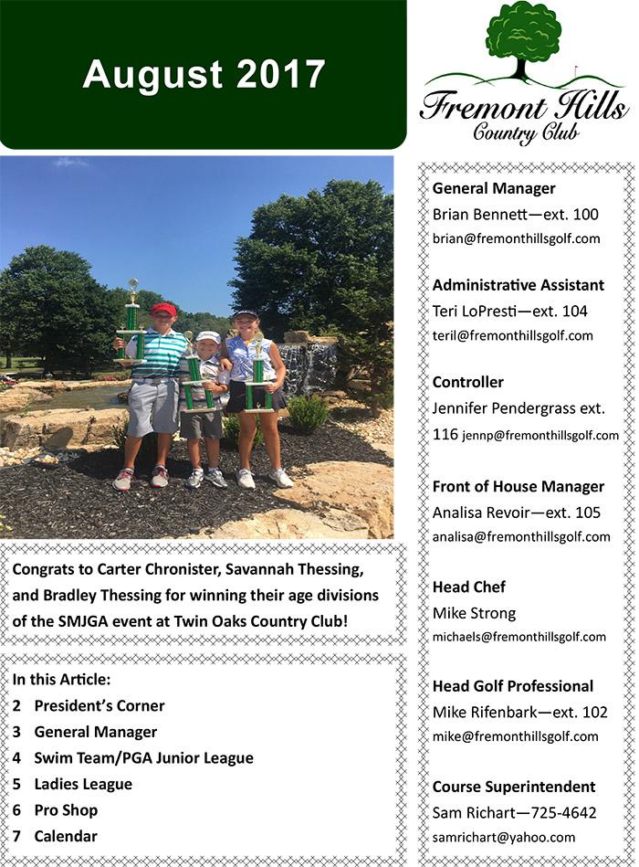 FHCC August 2017 Newsletter