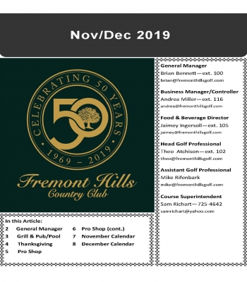 Nov/Dec 2019 Newsletter