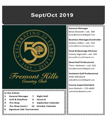 Sept/Oct 2019 Newsletter