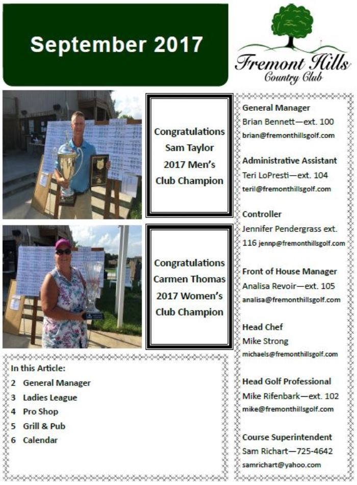 FHCC September 2017 Newsletter